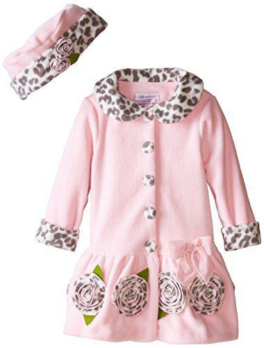 Bonnie Jean Little Girls' Fleece Coat with Leopard Trim, Pink, 3T