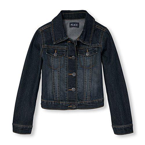 The Children's Place Big Girls' Denim Jacket, Dark Stone, Large/10-12