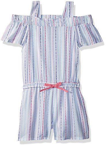 Calvin Klein Little Girls' Cold Shoulder Romper, White, 4