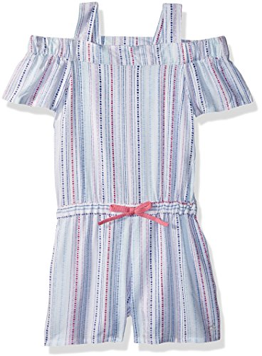 Calvin Klein Little Girls' Cold Shoulder Romper, White, 4