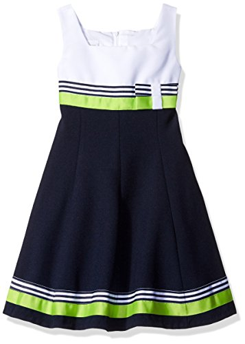 Bonnie Jean Little Girls' Fit and Flare Nautical Dress, White/Navy, 6