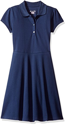 The Children's Place Big Girls' Uniform Short Sleeve Polo Dress, Tidal, Medium/7/8