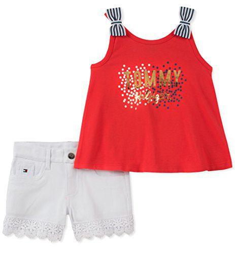 Tommy Hilfiger Little Girls' Shorts Set, Red/White, 5