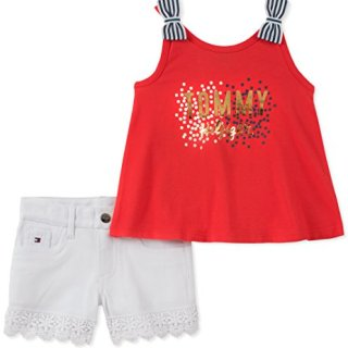 Tommy Hilfiger Little Girls' Shorts Set, Red/White, 5