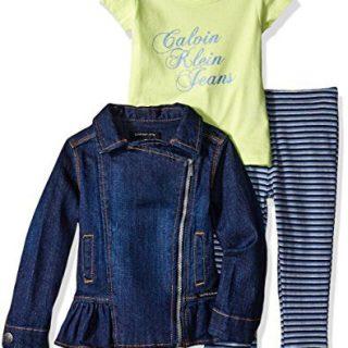 Calvin Klein Little Girls' Toddler 3 Piece Denim Jacket, Shirt and Striped Pant, Blue, 4T