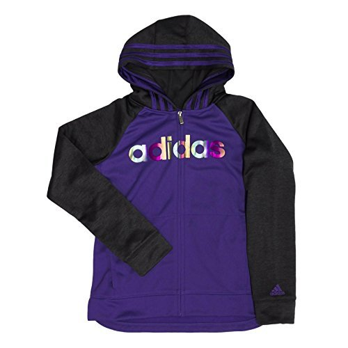 adidas Active Full Zip Hoodie for Girls (Purple, Medium/10-12)