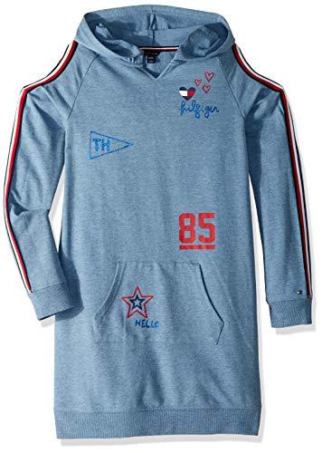 Tommy Hilfiger Big Girls' Hooded Sweatshirt Dress, Dress Navy Heather, Medium 8/10