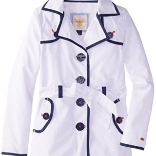 Tommy Hilfiger Big Girls' Trench Coat, White, X-Large