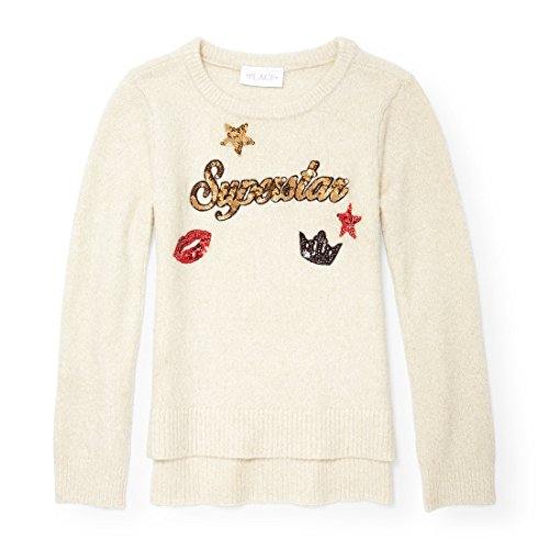 The Children's Place Big Girls' Sweater, Snow, L (10/12)