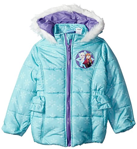 Disney Toddler Girls' Frozen Puffer Jacket, Aqua, 4T