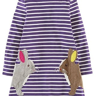 Fiream Girls Cotton Casual Longsleeve Stripe Applique Dress