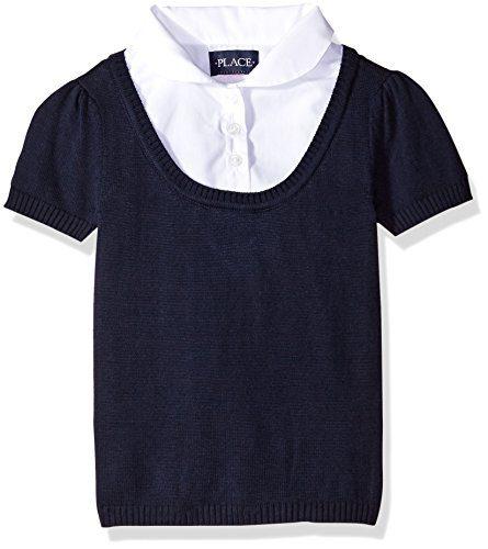 The Children's Place Big Girls' Short Sleeve Faux Layered Uniform Sweater, Tidal, Medium/7/8