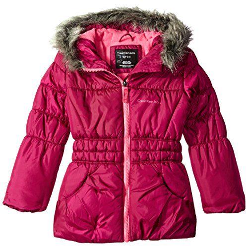 Calvin Klein Little Girls Glacial Puffer Jacket, Berry, 4