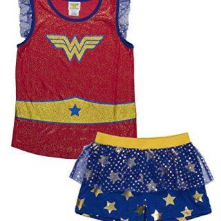 DC Comics Big Girls' Wonder Woman Logo 2-Piece Pajama Short Set, Blured, 10/12