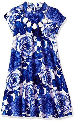 Bonnie Jean Little Girls' Mock Neck With Necklace, Blue Floral, 6