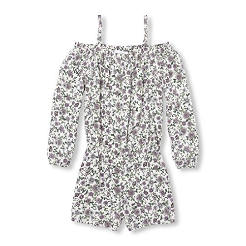 The Children's Place Big Girls' Floral Woven Romper, Bunnys Tail, XL (14)