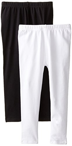 The Children's Place Big Girls' Solid Legging (Pack of 2), Black/White, Medium (7/8)