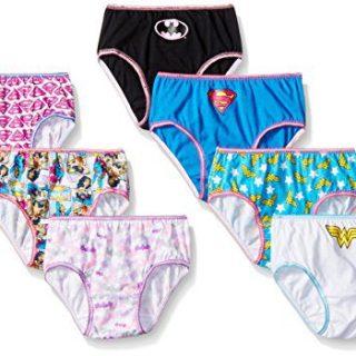DC Comics Big Girls Justice League Logo 7 Pack Panty, Assorted, 6