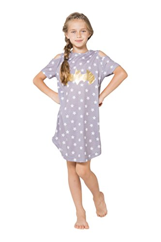 DC Comics Little Girls' Batgirl Cold Shoulder Star Nightgown, Gray, 6/6X