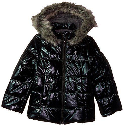 Calvin Klein Little Girls' Metallic Puffer Jacket, Gunmetal, 5