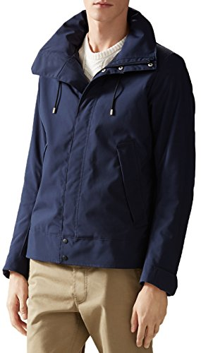 Gucci Men's Navy Blue Poly Poplin Techno Short Padded Raincoat Jacket, L, Blue