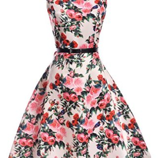Killreal Girl's Sleeveless Wedding Party Sweetheart Dress with Rose Floral Print Pink S(7-8)/7-8 Years