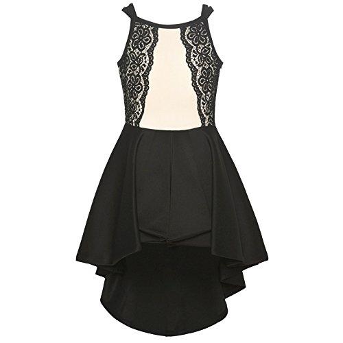 Bonnie Jean Big Girls Black Ivory Lace Panel Hi-Low Overlay Jumpsuit 10