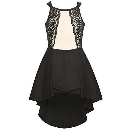 Bonnie Jean Big Girls Black Ivory Lace Panel Hi-Low Overlay Jumpsuit 10