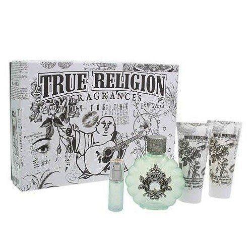 True Religion 4 Piece Gift Set (3.4 oz Eau de Parfum Spray + 0.25 oz Eau de Parfum Spray + 3.0 oz Shimmering Body Lotion + 3.0 oz Bath & Shower Gel) for Women by True Religion brand Jeans