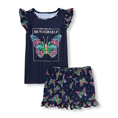 The Children's Place Big Girls' Butterfly Flutter Sleeve Top Short Pajama Set