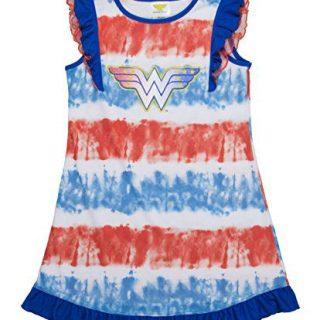 DC Comics Big Girls' Wonder Woman Logo Short Sleeve Pajama Dress, Blured, 7/8