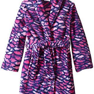 Calvin Klein Little Girls' Printed Plush Robe, Fuchsia, 5/6