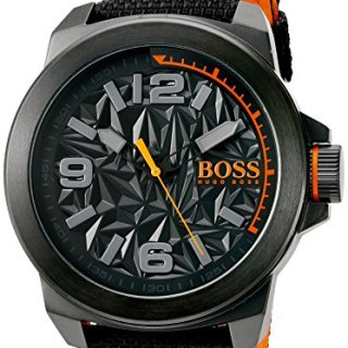 BOSS Orange Men's 'New York' Quartz Resin and Canvas Casual Watch, Color Black