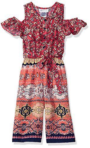 Bonnie Jean Big Girls' Jumpsuit, Fuchsia Floral, 7
