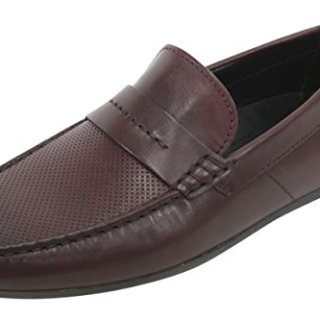 HUGO by Hugo Boss Men's Travelling Dandy Moccasin in Red Leather Slip-on Loafer, Dark Red, 42 EU/9-9.5 M US