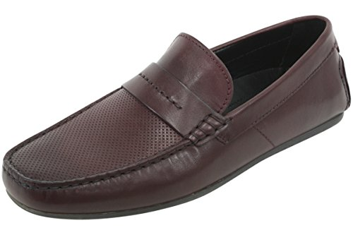 HUGO by Hugo Boss Men's Travelling Dandy Moccasin in Red Leather Slip-on Loafer, Dark Red, 42 EU/9-9.5 M US