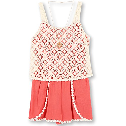 Speechless Big Girls' Lace/Gauze Romper, Coral, L