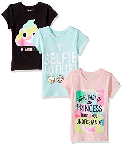 The Children's Place Girls' Little Short Sleeve Fashion Graphic Tee 3-Pack, Multi 4, S (5/6)