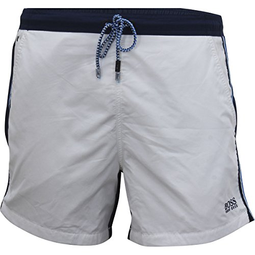 Hugo Boss BOSS Men's Snapper Swim Trunk, White, Medium