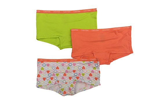 Calvin Klein Girls Boy Short Panties, 3 Pack (Rainbow Hearts/Orange/Volt, Small)