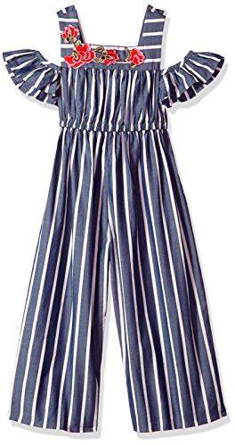 Bonnie Jean Little Girls' Jumpsuit, Blue Stripe, 5