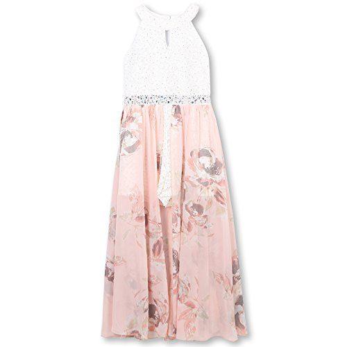 Speechless Girls' Big Printed Walk Through Romper Maxi Dress, Blush, 10