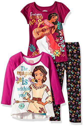 Disney Little Girls' 3 Piece Elena of Avalor Legging Set, Burgundy, 5