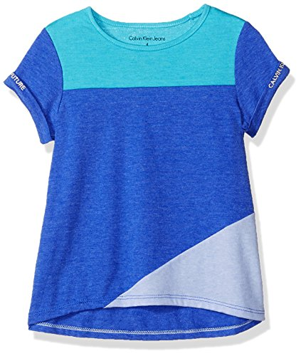 Calvin Klein Little Girls' Calvin Graphic Tee, Color Block Blue, 5