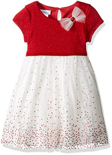 Bonnie Jean Little Girls' Toddler Sweater to Glitter Dot, Red, 2T