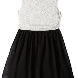 Speechless Big Girls' Glitter Lace Party Dress, White/Black, 16