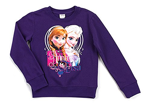 Disney Frozen Little Girls' Anna and Elsa Crew Neck Long Sleeve Top, Purple Rush, 5/6