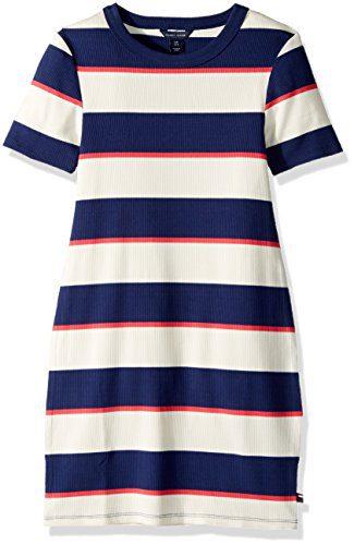 Tommy Hilfiger Big Girls' Rugby Rib Knit Dress, Flag Blue, Small