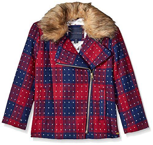 Tommy Hilfiger Big Girls' Short Wool Car Coat, Red Berry, X-Large/16