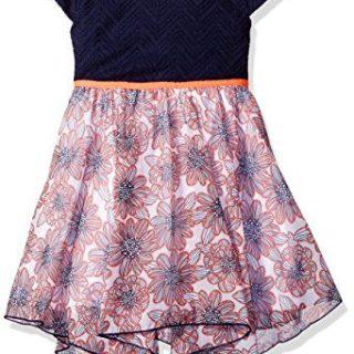 Sweet Heart Rose Little Girls' Knit to Floral Chiffon Hanky Hem Dress, Navy/Multi, 6